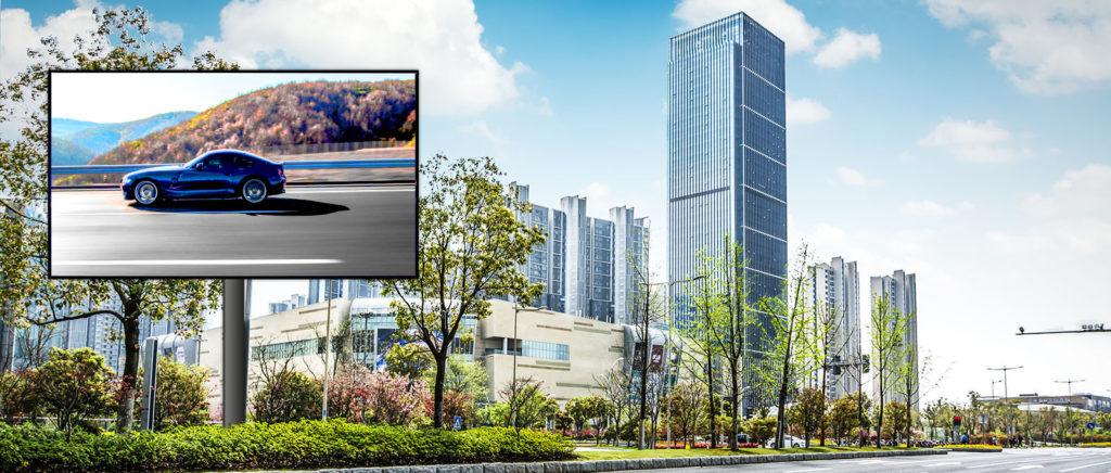 écran géant publicitaire en ville